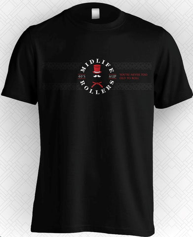 Midlife Rollers Official Logo Black Belt T-Shirt