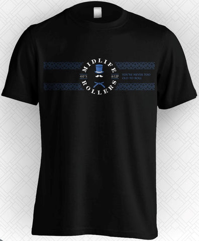 Midlife Rollers Official Logo Blue Belt T-Shirt