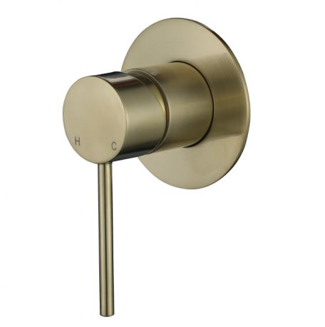 Round Mini Shower mixer - Brushed Brass