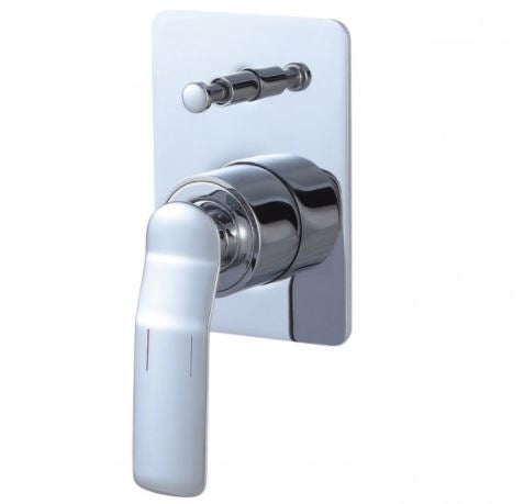 Synergii Shower or Bath Mixer with Diverter Button - Chrome & White