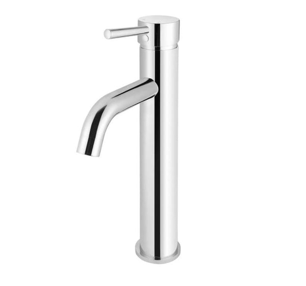 Meir Round Tall Curved Basin Mixer - Polished Chrome