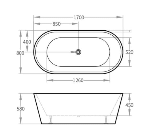 Oval Freestanding Bath 1400-1700mm