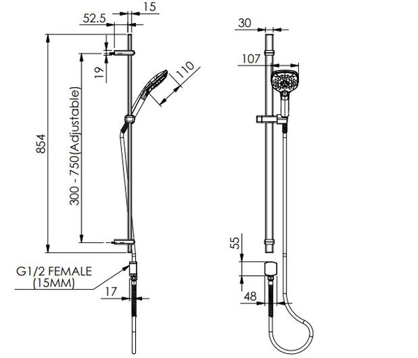 Swept Adjustable rail Shower - Brushed Nickel