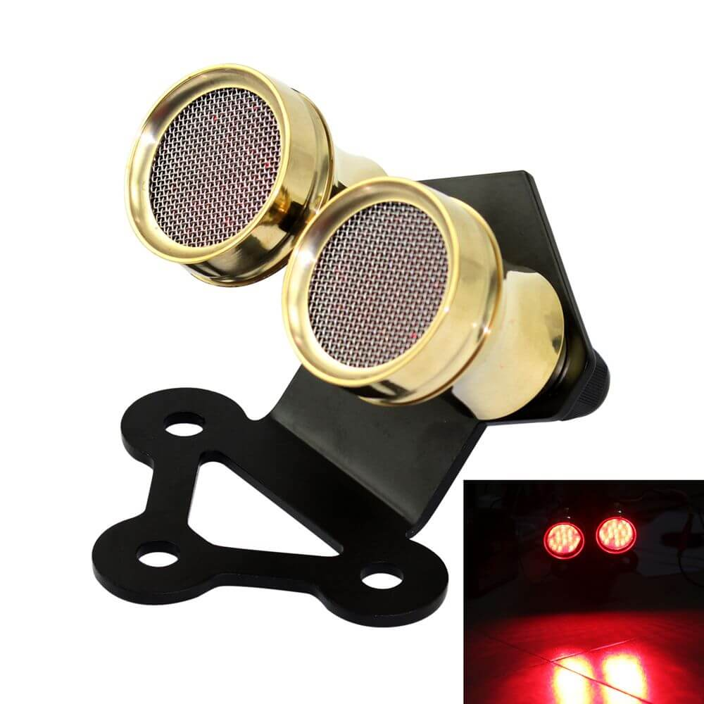 12 Volt Motorcycle Whisky Brass Dual Tail Light Fender Mount For Cafe Racer Streetfighter SR-500, Street Racer Or Chopper