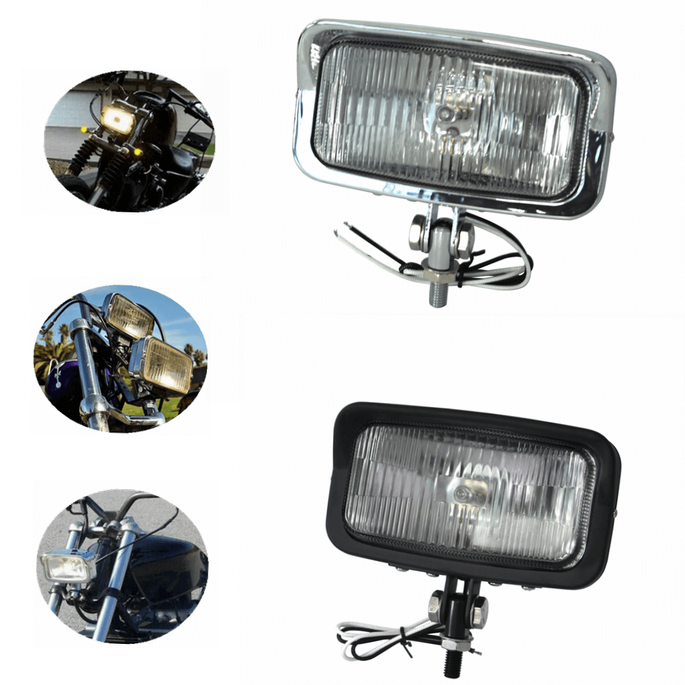 2 Colors  Motorcycle Rectangular Vintage Square Headlight Front Lamp 55W Head Light for Harley  Chopper Bobber Sportster Cafe Racer