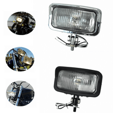 Load image into Gallery viewer, 2 Colors  Motorcycle Rectangular Vintage Square Headlight Front Lamp 55W Head Light for Harley  Chopper Bobber Sportster Cafe Racer