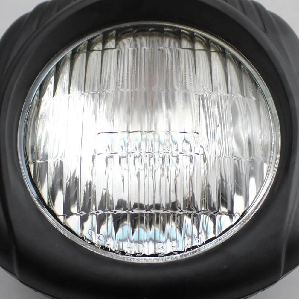 "4.5"" Motorcycle Sealed Beam Black Shell With Clear Lens Electroline Vintage Headlight for Harley Dyna Sportster Bobber Chopper XS650 Retro Square Head Light"