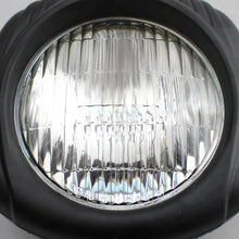 "Load image into Gallery viewer, 4.5"" Motorcycle Sealed Beam Black Shell With Clear Lens Electroline Vintage Headlight for Harley Dyna Sportster Bobber Chopper XS650 Retro Square Head Light"