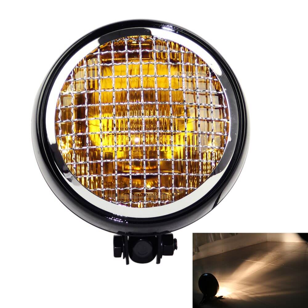 "5.75"" Vintage Mesh Grill Guard Headlight Sealed Beam  Headlamp for Harley Triumph Chopper Cafe Racer Scrambler"
