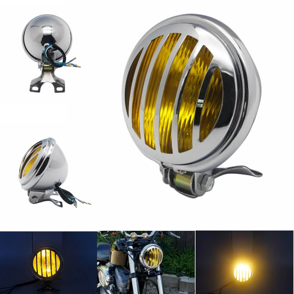 "5"" Retro Headlight Finned Grill Chrome Shell With Yellow Lens Head Lamp For Harley Honda Yamaha Chopper Bobber"