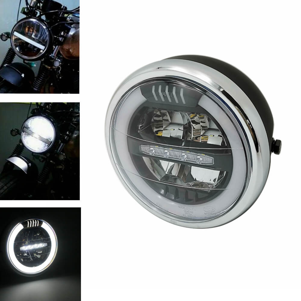 "7"" E-Mark E8 Halo Built-In Radiator Led Motorcycle Headlight DRL  Led Hi/Lo Beam Headlamp For Harley Cafe Racer Bobber Chopper"