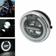 "Load image into Gallery viewer, 7"" E-Mark E8 Halo Built-In Radiator Led Motorcycle Headlight DRL  Led Hi/Lo Beam Headlamp For Harley Cafe Racer Bobber Chopper"