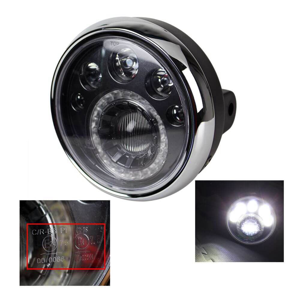 "7"" Headlight Round Motorcycle LED  E-mark 12V LED Motorcycle Head lights Vision Lamp Headlamp For Chopper Bobber"