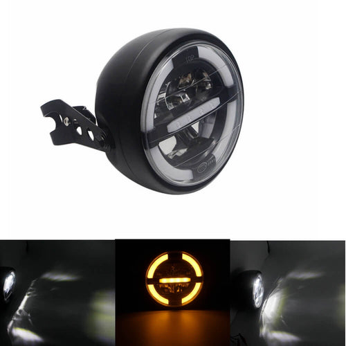 Amber LED Black Shell  With Bracket Style Motorcycle Hi/Lo Beam DRL Headlight Assembly For Cafe RacerKawasaki Yamaha Suzuki Ducati KTM BMW