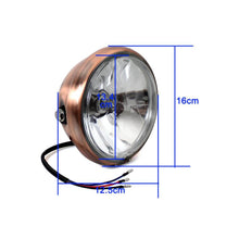 "Load image into Gallery viewer, Antique Head Light Brown Bezel 6"" Copper Headlight H4 12V 60W For Harley Choppers Crusiers Cafe Racers Trikes Custom"