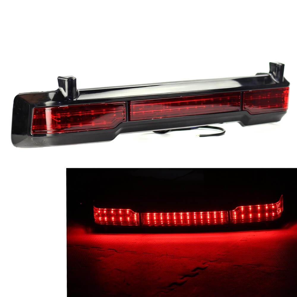 Black Motorbike ABS Red LED Rear Tail Brake Lights Motorcycle Running Light For Harley Touring Classic Ultra King Tour Pack
