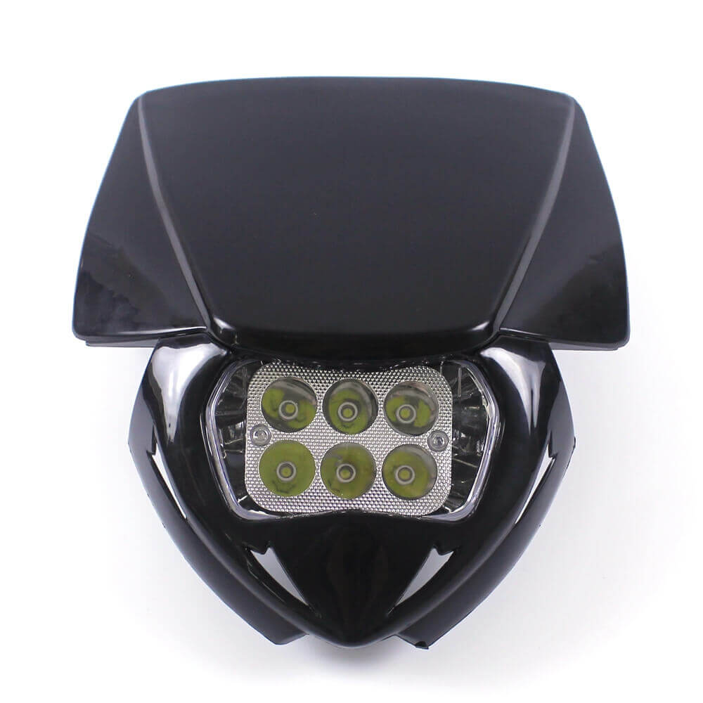 Black Universal Dirt Bike Motorcycle LED Headlight Supermoto Head Lamp Fairing For Yamaha Honda KTM Suzuki DR KLR KLX KX
