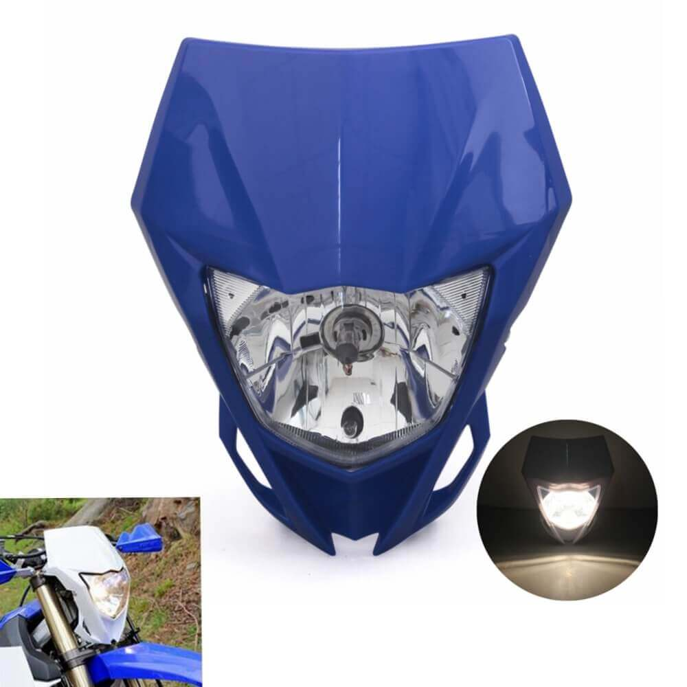Blue Motorcycle Dual Sport Headlight Fairing Head Lamp For Yamaha YZ YZF WR WRF 125 230 250 450 250F 450F MX Enduro