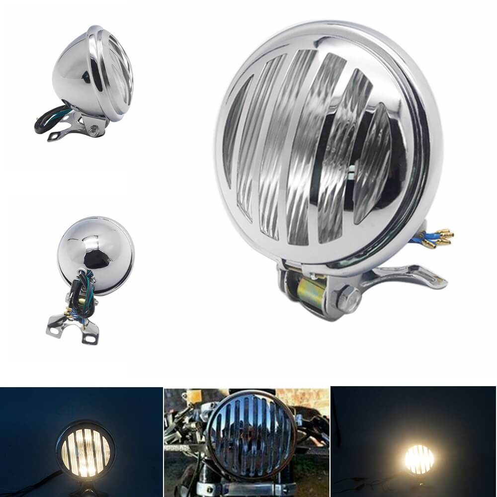 "Chrome  5"" Old school Motorcycle Headlight Grill Cover High Low Beam Headlamp Clear Lens For Bobber Chopper"