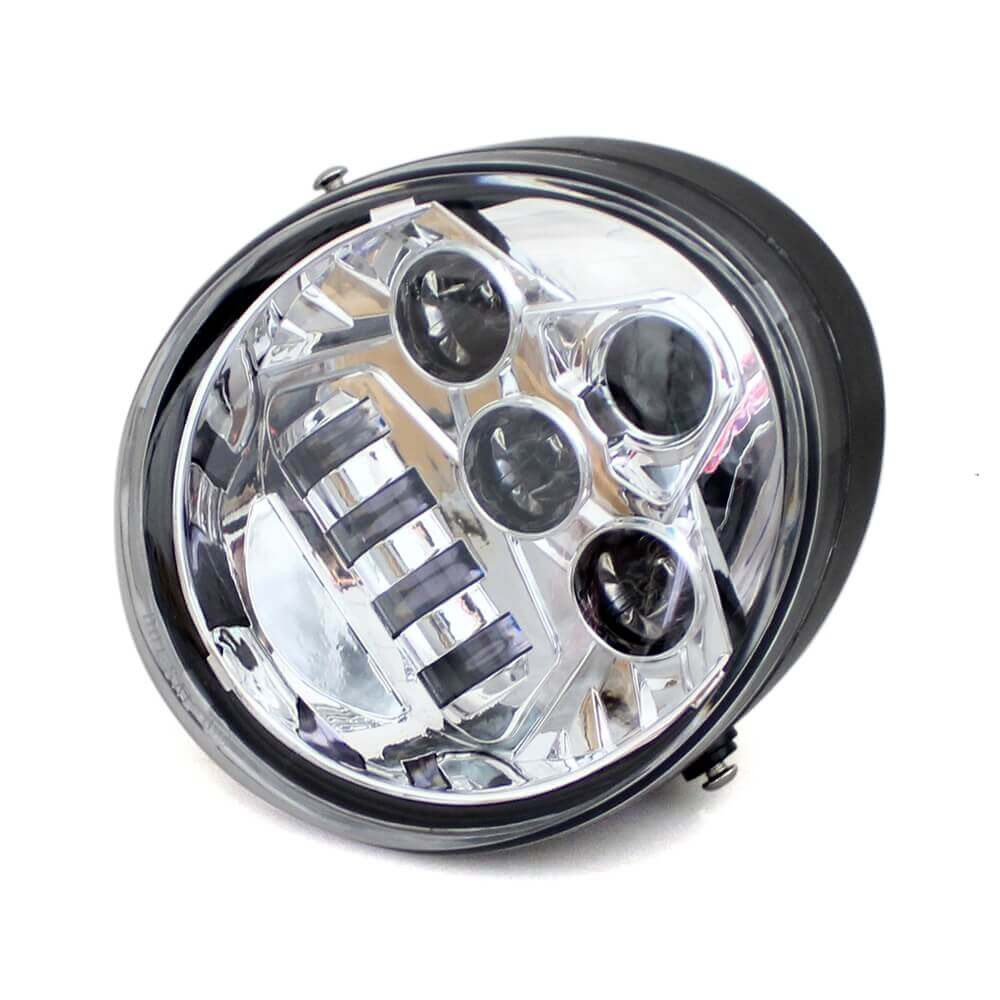 Chrome Motorcycle E9 Marked Hi/Lo Beam LED Headlight Head Lamp For Harley V-Rod VRSC VRSCF VRSCAW DOT