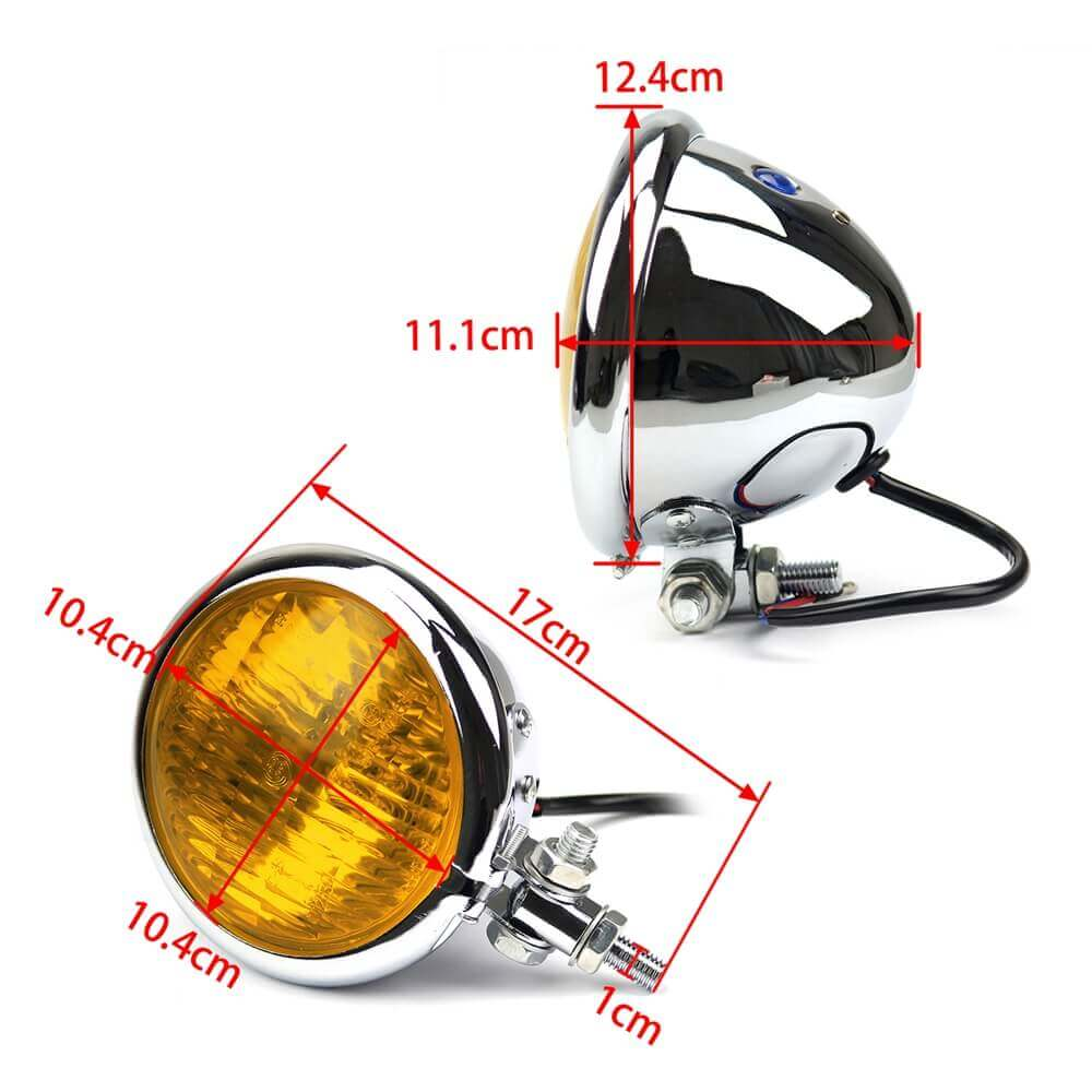 "Chrome Yellow Glass 4.5"" Motorcycle Vintage Retro Headlight For Tri XS650 Bobber Chopper Cafe Racer Sportster Road King Iron 883"