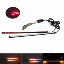Load image into Gallery viewer, Dual Sequential Lights Strip Red w/Amber Motorcycle Car LED Switchback Flowing Tail Brake Light Turn Signal Tube Universal