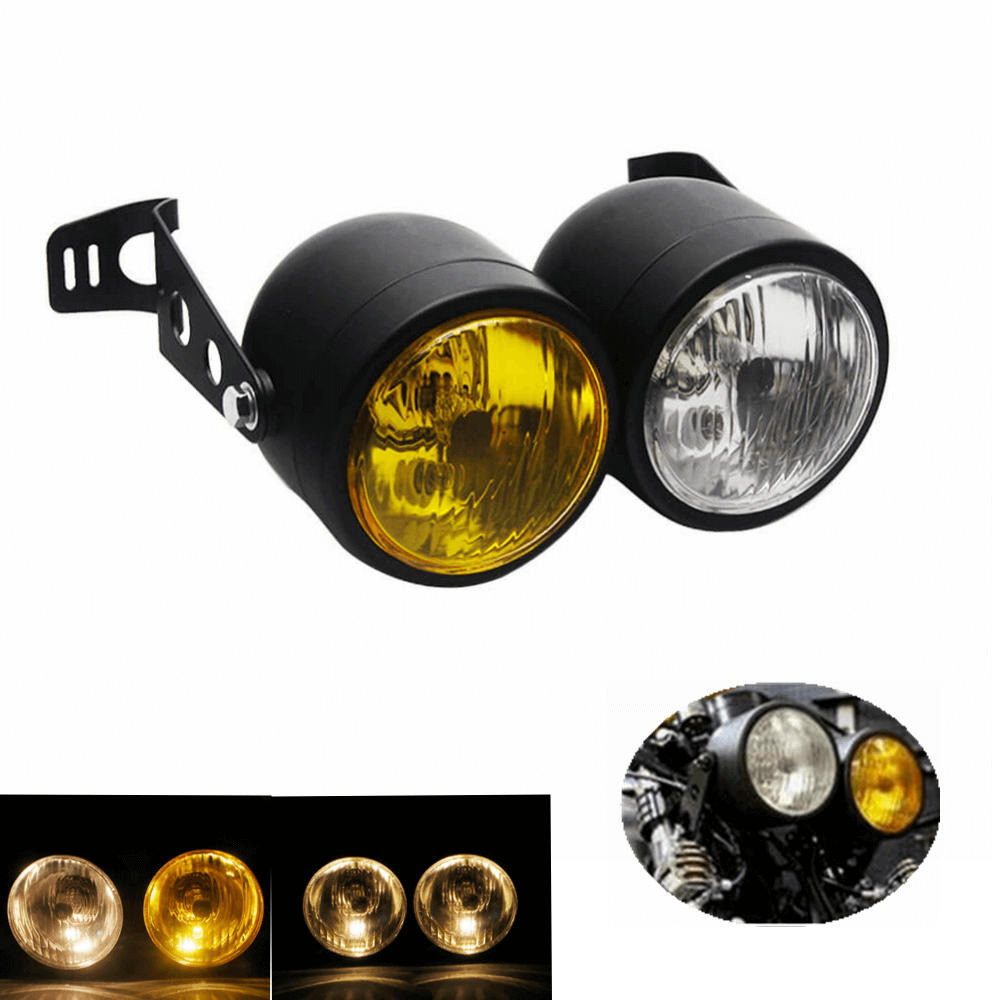 Mesh Grill Cafe Racer Dual Twin Dominator Headlight  H4 Double Head Light w Mount Bracket for Harley Honda Bobber Touring Cruiser