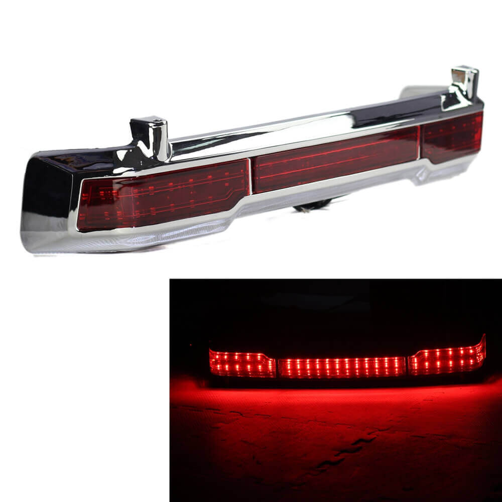 "Motorcycle 19"" Chrome Running Brake Light LED Taillights For Harley Touring Classic King Electra Glide Tour Pack 1997-2008"