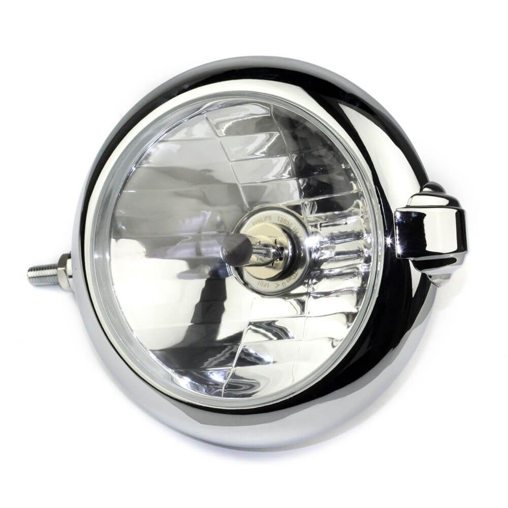 "Motorcycle H4 New Vintage Unity 5 1/4"" Chrome Headlight Lamp For Harley Triumph Bobber Chopper"