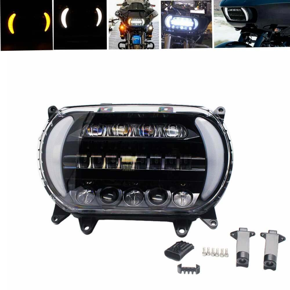Motorcycle Harley Road Glide LED Headlights Projector Headlamp With Daylight Running Light DRL & Turn Signal CVO FLTR FLTRX FLTRU 2015-2020
