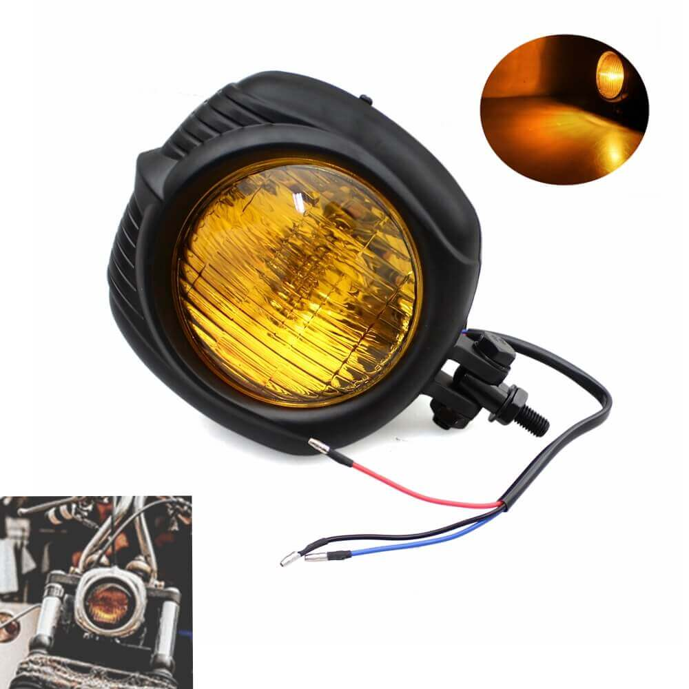 Motorcycle Old School Retro Headlamp Black Shell With Yellow Lens Electroline Headlight For Harley Sportster Dyna Touring Luz Bobber Vintage Headlight