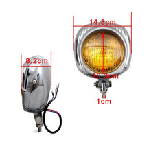 Load image into Gallery viewer, Motorcycle Old School Retro Headlamp Black Shell With Yellow Lens Electroline Headlight For Harley Sportster Dyna Touring Luz Bobber Vintage Headlight