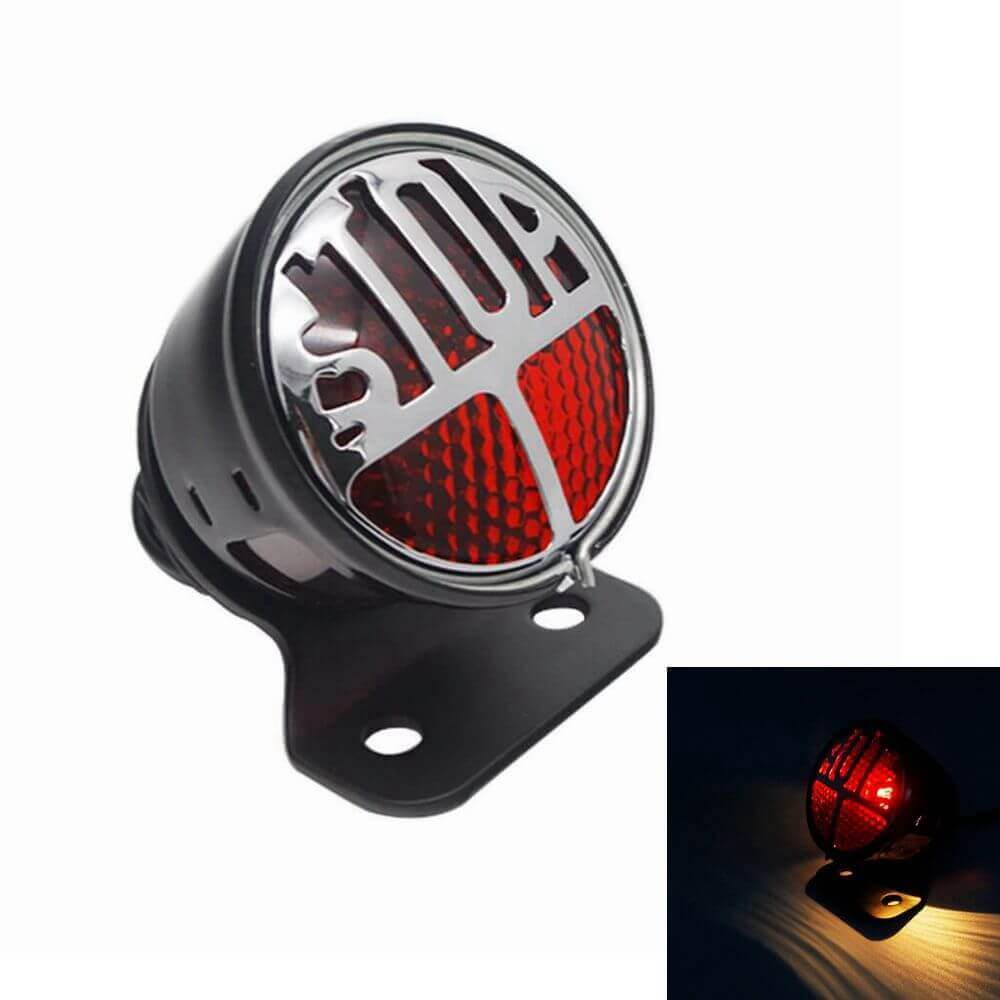 "Motorcycle Side Mount LED STOP Brake Tail Light 3/4"" Axle Hole License Plate Bracket Holder for Harley Bobber Chopper Honda Yamaha Suzuki Kawasaki"