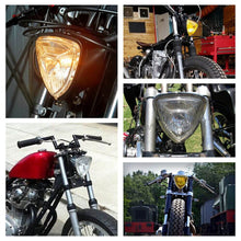 Load image into Gallery viewer, Motorcycles Head Lamp Universal H4 Triangle Retro Headlight 12V 55/60W Halo Fron  Light For Harley Old School Sporsters Choppers