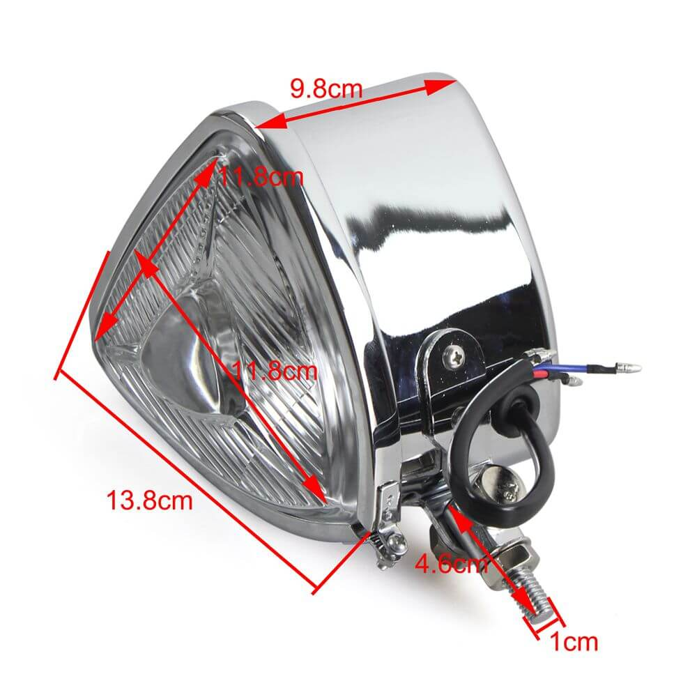 Motorcycles Head Lamp Universal H4 Triangle Retro Headlight 12V 55/60W Halo Fron  Light For Harley Old School Sporsters Choppers