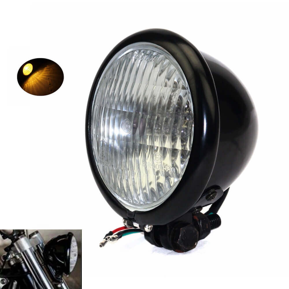 Retro 4.5 in Bates Style Motorcycle Headlight H4 Front Lamp Clear Lens For Harley Chopper Cafe Racer Sportster Road King Iron 883