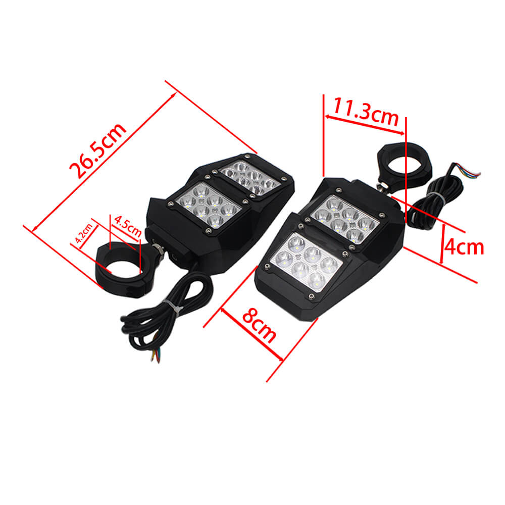"UTV Rear Side View Mirror w/ LED Spot Lights For Polaris RZR 900 1000 1.75"" 2"" With LED Spot Light Rock Lights DRL"