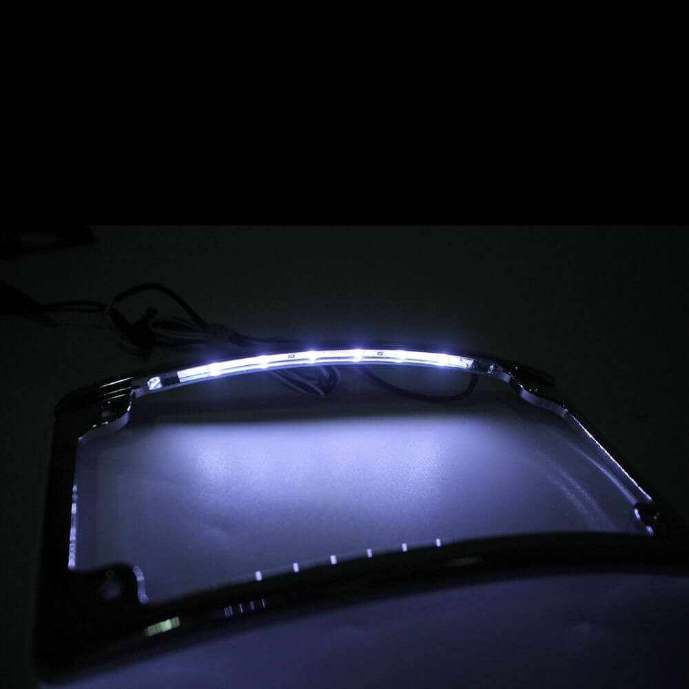Universal Light License Plate Motorcycle 12 Curved 6 White LED  Holder For Harley Softail Touring Dyna sport glide FLSL/FXBB