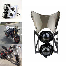 Load image into Gallery viewer, Universal Motorcycle  Twin Headlight w/ Bracket E-Marked & DOT For Dirt Bike Streetfighter Projector Dual Sport Headlamp Headlight w/ Wind Screen