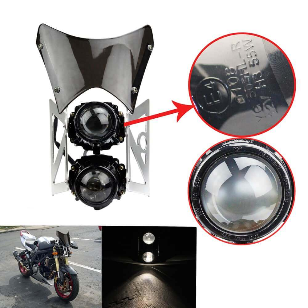 Universal Motorcycle  Twin Headlight w/ Bracket E-Marked & DOT For Dirt Bike Streetfighter Projector Dual Sport Headlamp Headlight w/ Wind Screen