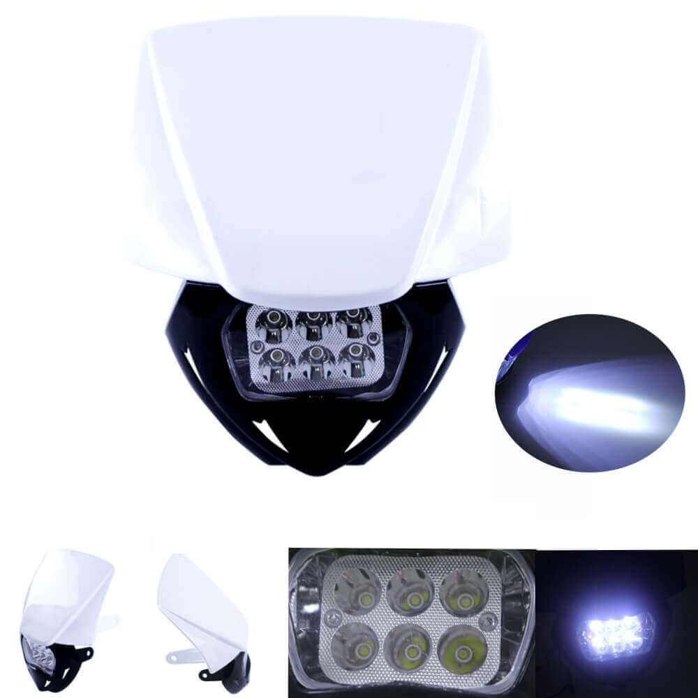 White Motorcycle Headlight Dirt Bike LED Lamp Fairing Headlamp For  Honda KTM CRF250 CRF450 Yamaha YZ TTR WR XT