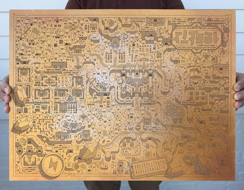 Limited edition laser etched gold Zelda: A Link to the Past map