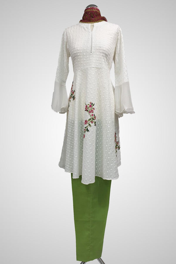 (LM 59) Self Chicken Embroidered & Printed  Colton White and Green Ready to Wear 3Pcs Suit with Chiffon Dupatta Printed