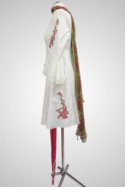 (LM 60) Self Chicken Embroidered & Printed  Colton White and Pink Ready to Wear 3Pcs Suit with Chiffon Dupatta Printed