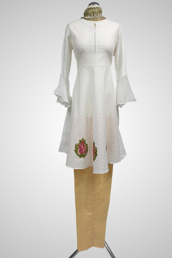 (LM 61) Self Chicken Embroidered & Printed  Colton White and Peach Ready to Wear 3Pcs Suit with Chiffon Dupatta Printed