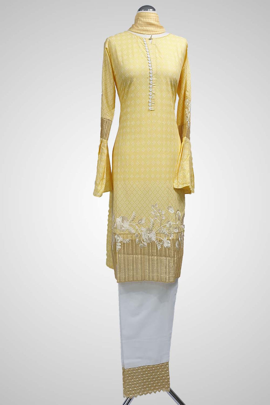(LM 28 ) Embroidered cotton White & Yellow Ready to Wear 3Pcs Suit with Chiffon Dupatta