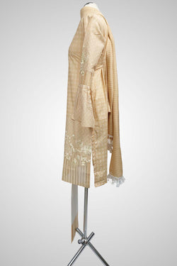 (LM 27 ) Embroidered cotton White & Light Peach Ready to Wear 3Pcs Suit with Chiffon Dupatta
