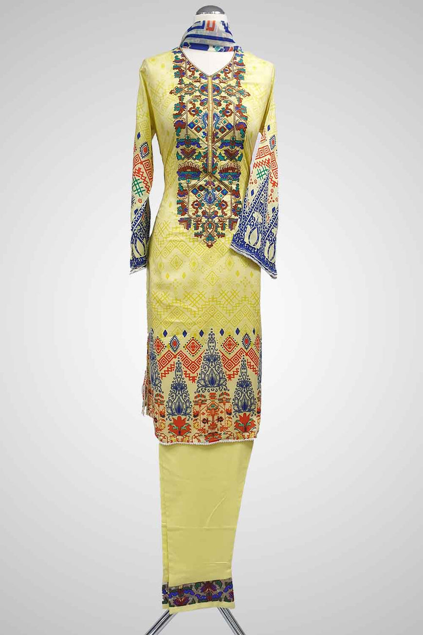 (LM 35) Embroidered & Printed Lawn Yellow Ready to Wear 3Pcs Suit with Chiffon Dupatta Printed