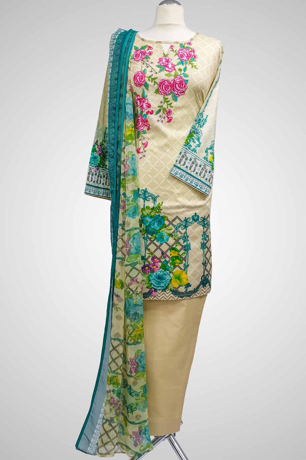 (LM 32) Embroidered & Printed Lawn Beige Ready to Wear 3Pcs Suit with Chiffon Dupatta Printed