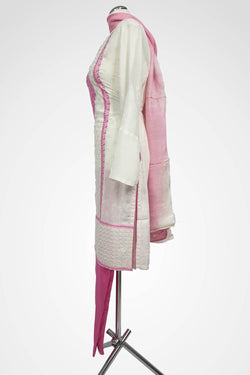 (LM 22 ) Embroidered cotton White & Pink Ready to Wear 3Pcs Suit with Chiffon Dupatta